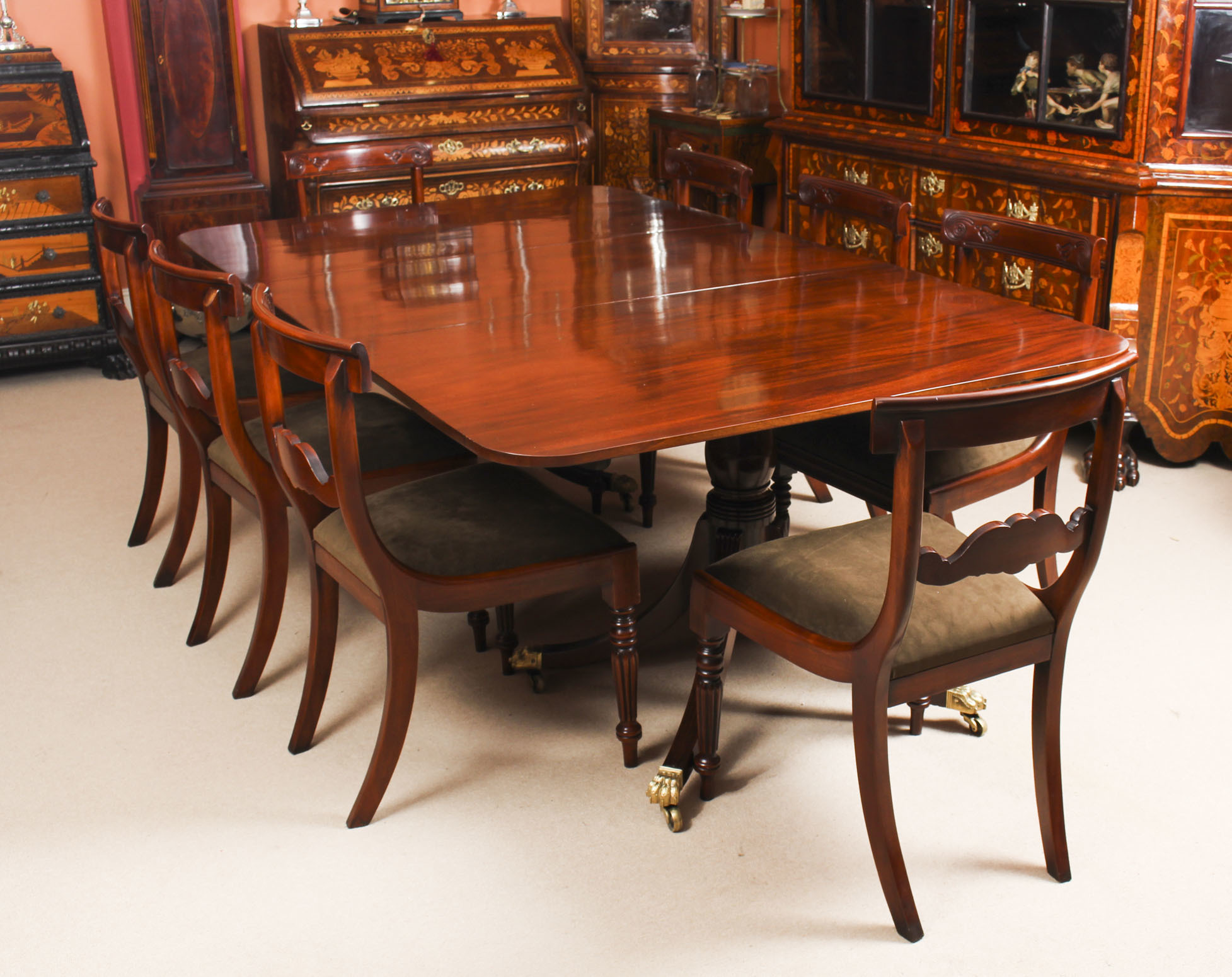 Antique Twin Pillar Regency Dining Table C1820 19th C 8 Vintage Chairs Vinterior