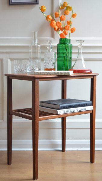 Vintage Danish Style Teak Slatted Side Table. Delivery. Modern / Midcentury.
