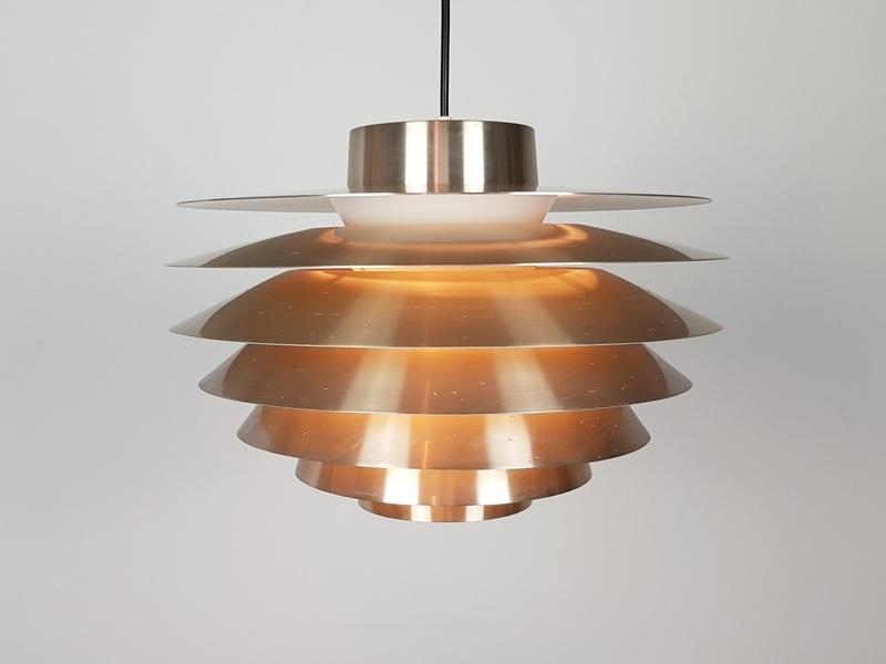 A Brassed Svend Middelboe Verona Pendant Light Produced By Nordisk Solar, 1970 S, Denmark