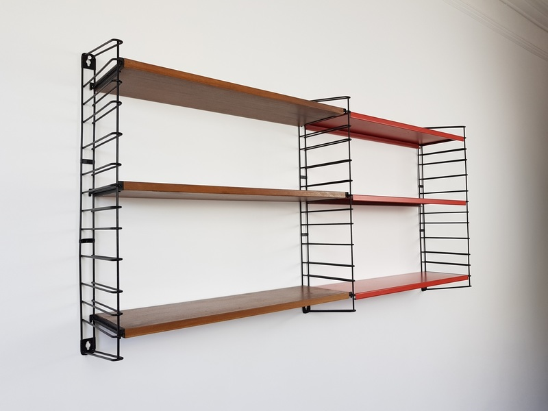 Dutch Tomado Hanging Wall Shelves, Designed In The 1950 S By A. Dekker