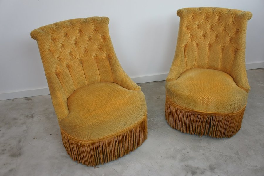 Pair Gold Button Backed Tub Armchairs