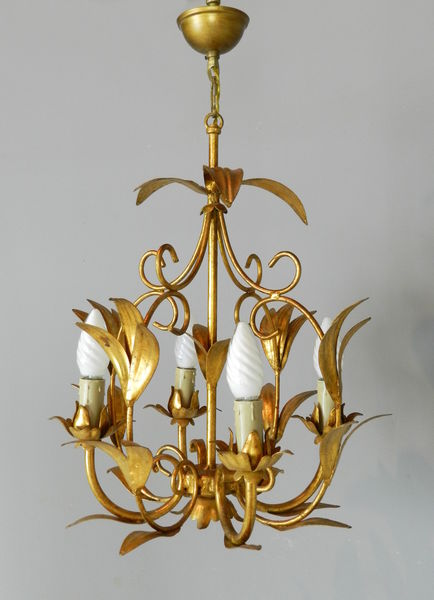 French Gilt Toleware Foliage Chandelier