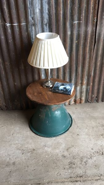 Vintage Reclaimed Wooden Upcycled Side End Table Rustic Industrial Coffee (C)