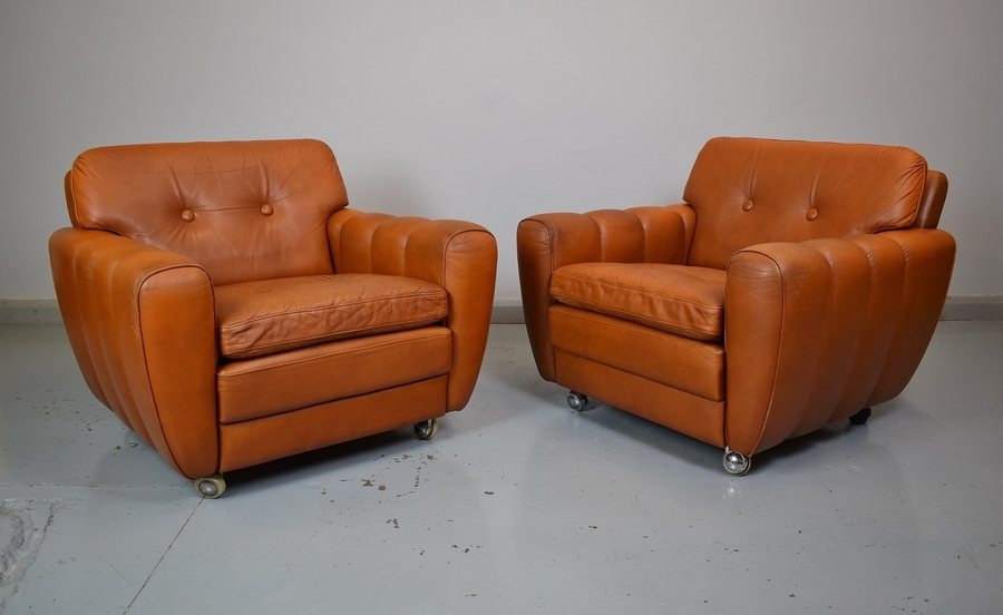 (1 Of 2) Mid Century Retro Danish Skippers Mobler Tan Brown Leather Lounge Chair 1 Sold