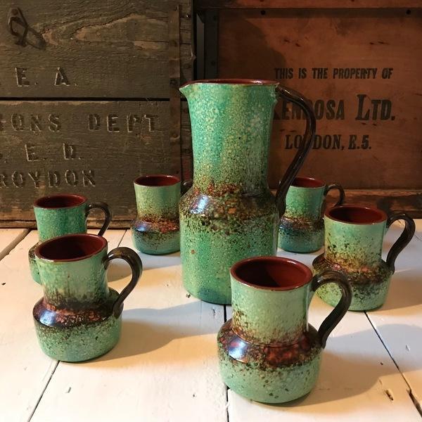 Rustic Handmade Jug With 6 Cups