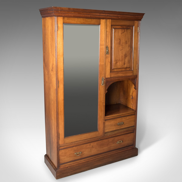 Edwardian Antique Beaconsfield Wardrobe, English, Walnut, C.1910
