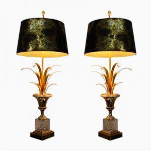 Pair Of Mid 20th Century Hollywood Regency Palmtree Table Lamps Attr. To Boulanger, Belgium