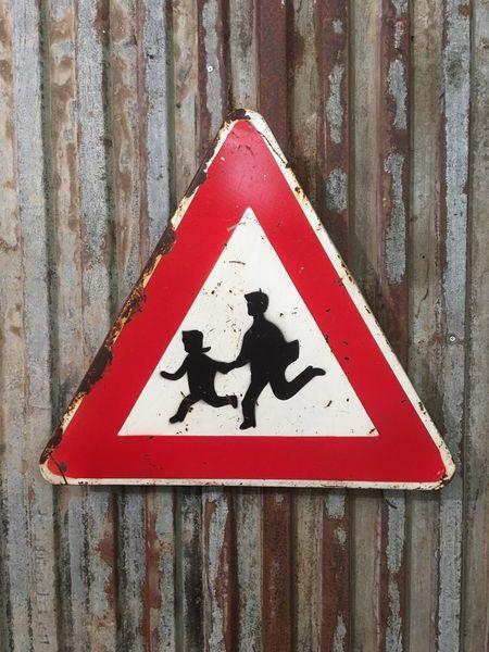 Vintage Metal Enamelled Sign Enamel Rustic School Crossing Road Street