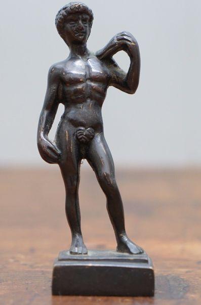 Miniature Bronze Statue Of Michelangelo 039 S The David Statue Grand Tour Piece     Miniature Bronze Statue Of Michelan