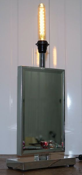 Stunning Venetian Glass Mirrored Table Lamp With Heavy Chrome Frame