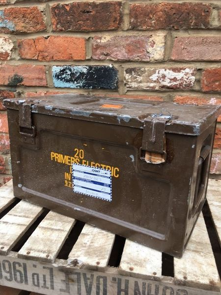 Vintage 1966 Military Army Metal Suitcase Trunk Box
