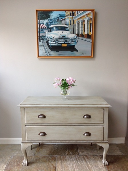 Antique Hand Painted Sloan Grey Lowboy Chest Of Drawers Tv Unit Sideboard Annie Sloan Chalk Paint