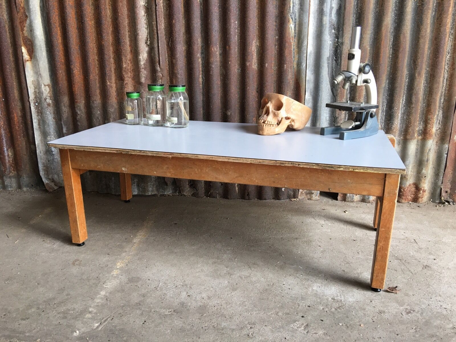 - Upcycled Vintage Old School Desk Coffee Table Rustic Shabby Chic