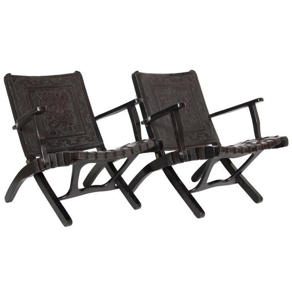 Pair Of Leather 1950s Peruvian Folding Chairs