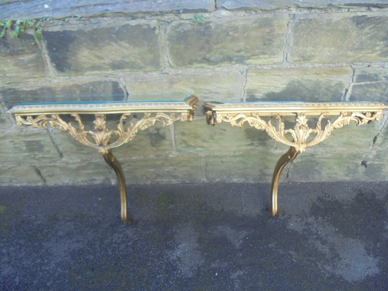 Decorative Pair Gilt Wood Glass Topped Console Tables