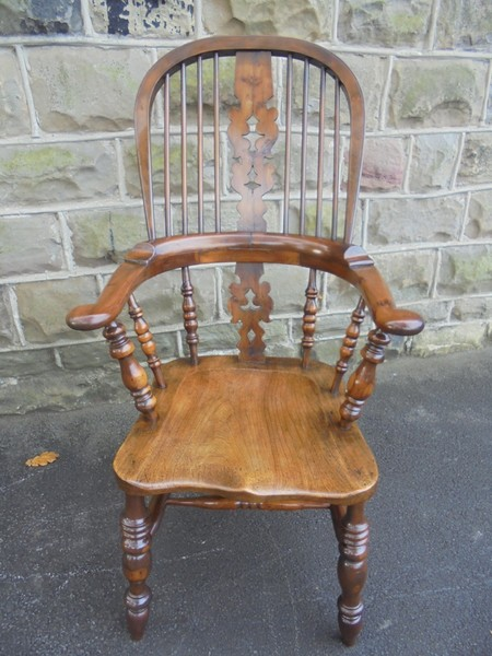Antique Yew Wood High Back Pad Arm Windsor Chair