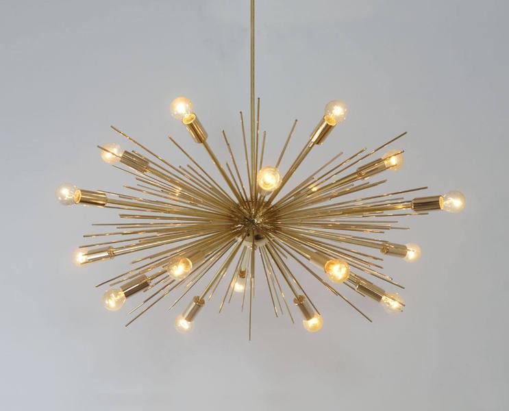 "Mid Century Modern Handcrafted Gold Brass Spurchin Chandelier 18 Bulb Sputnik Ceiling Lamp Light 32 "" Diam"
