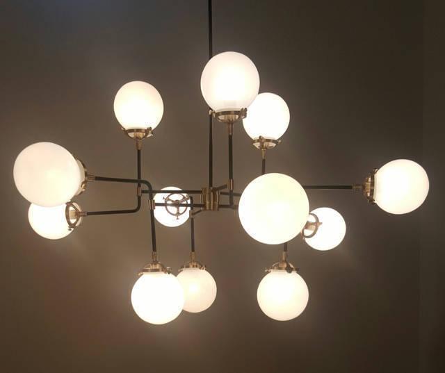 Bistro Globe Glass Ball Industrial Inspired Chandelier Ceiling Light With 12 Milk Glass Balls