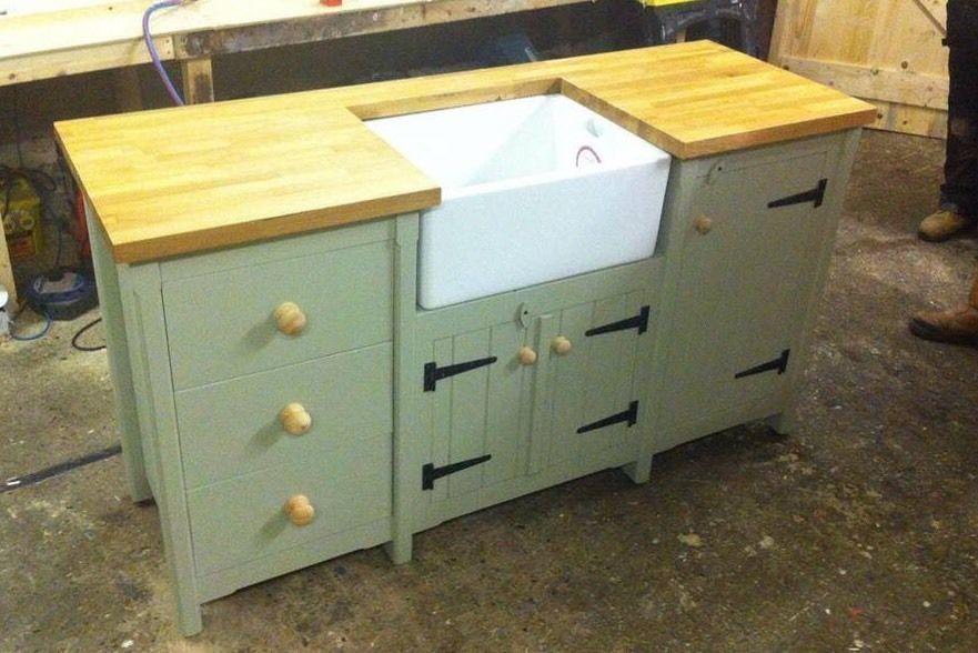 Pine Freestanding Belfast Butler Sink Unit With Solid Oak Top Cupboard Drawers
