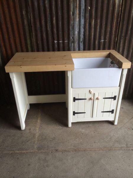 Pine Rustic Kitchen Belfast Butler Sink Unit Appliance Cover Utility Room