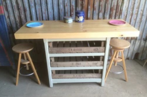 Kitchen Island Breakfast Bar Drawers Butchers Block Storage Unit Solid Pine