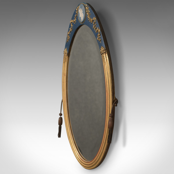 Victorian Antique Wall Mirror, Giltwood & Gesso Frame, Jasperware Plaque, C.1890