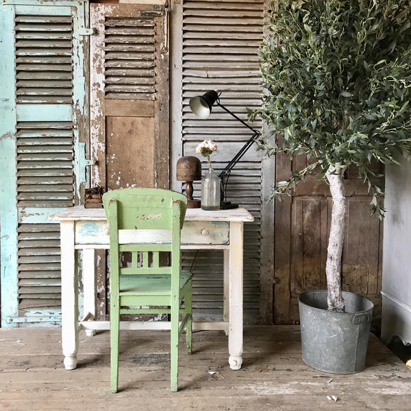 Vintage French Rustic Farmhouse Old Paint Desk And Chair