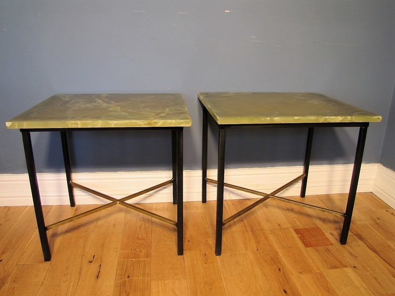 Matching Pair Of Mid Century Minimalst Iron And Onyx Top Side Tables