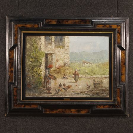 Italian Signed Rural Landscape Painting