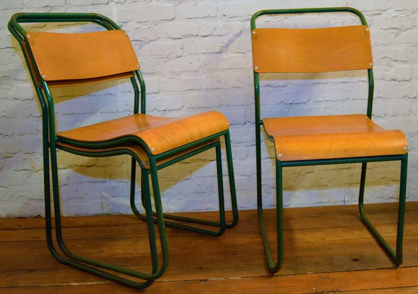 6 Available Du Al Ply Stacking Vintage Chairs
