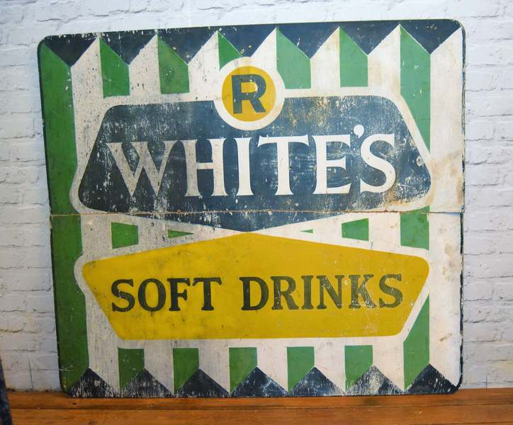 Large White's Soft Drinks Wooden Sign