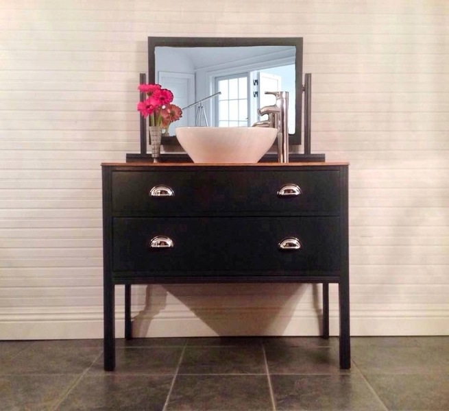 Black Bathroom Vanity Sink Unit With Mirror