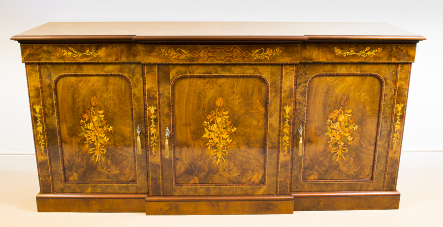 Superb Bespoke Burr Walnut Marquetry 3 Door Sideboard