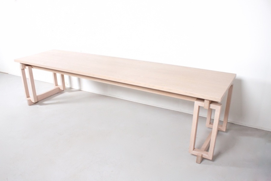 Large Wooden Dining Table Used In A Church