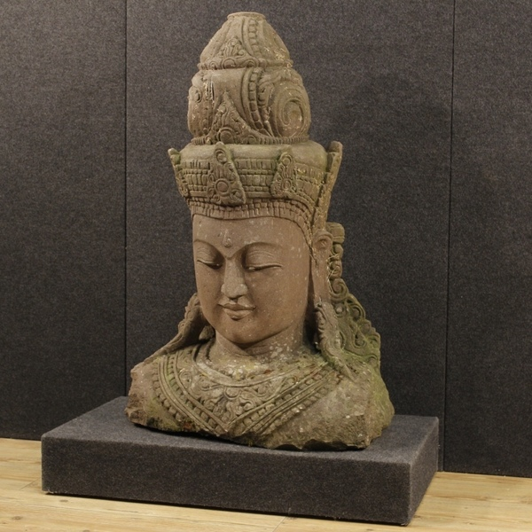 Sculpture In Stone Representing Oriental Deity