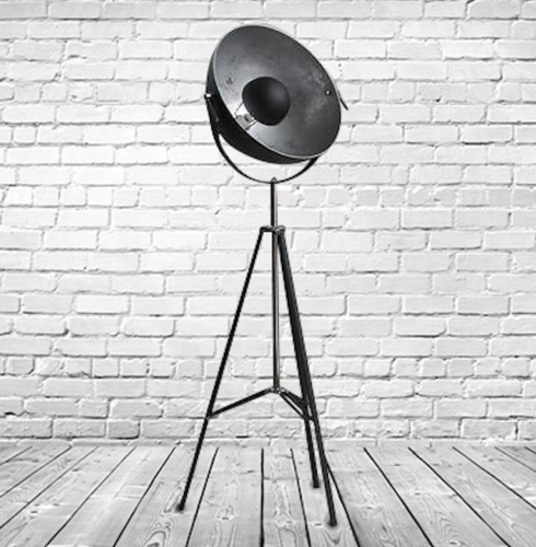 Superb Hollywood Style Big Tripod Spotlight Floor Lamp Wt Silver Interior.
