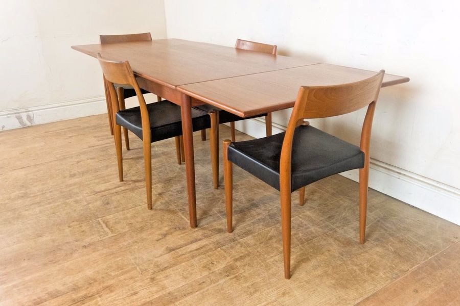 Vintage Retro Danish Extending Table And 4 Teak Chairs By Mogens Kold