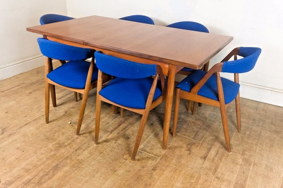 Vintage Retro Teak Extending Dining Table And 6 Chairs By Kai Kristiansen