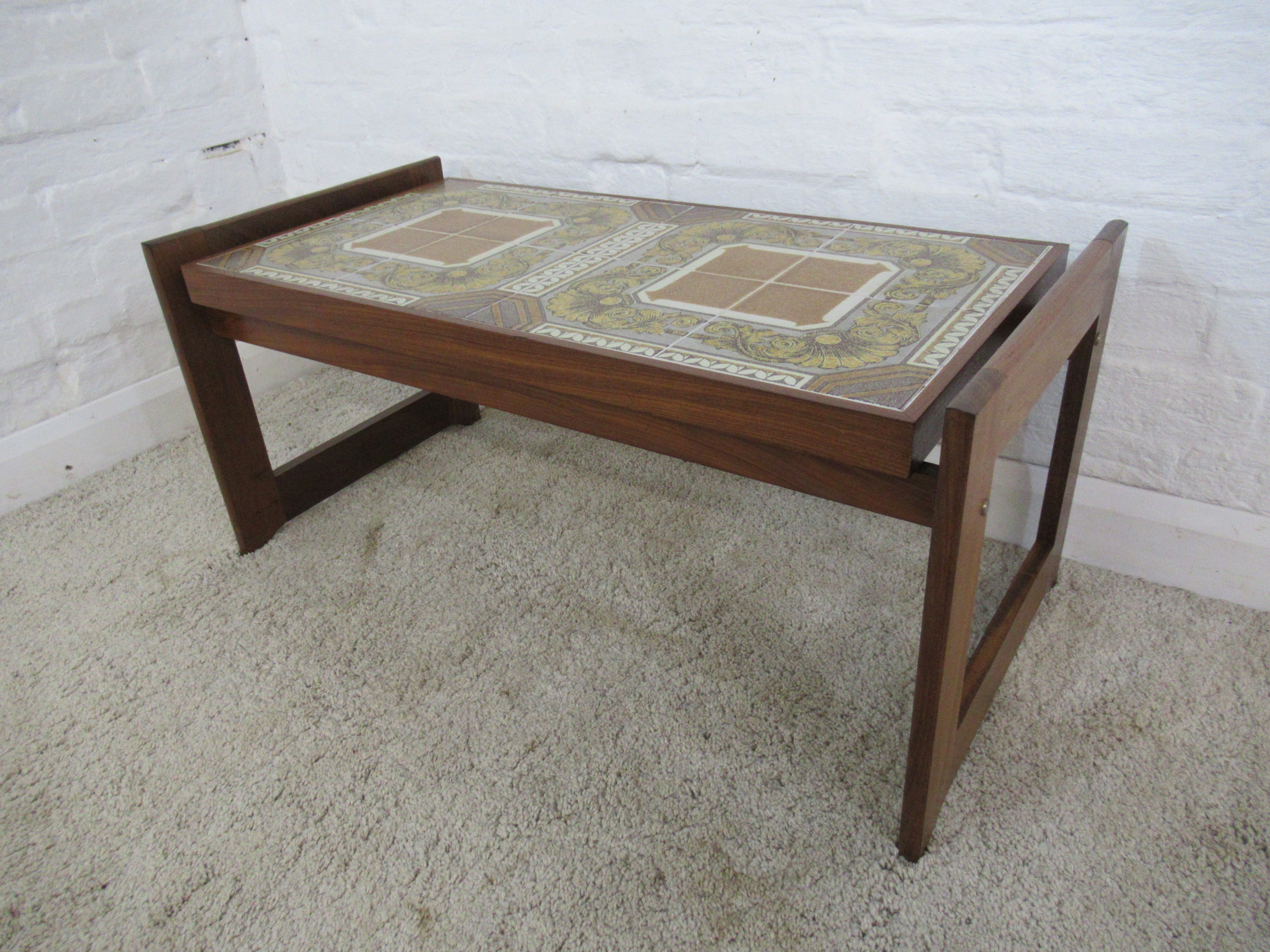 retro 1960s 1970s rectangular teak and tile floating top coffee table