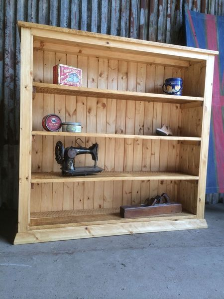 Solid 4ft Rustic Pine Handmade Large Bookcase Shelving Unit