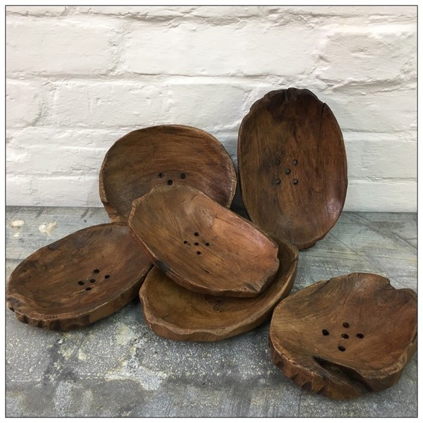 Hand Carved Wooden Soap Dish