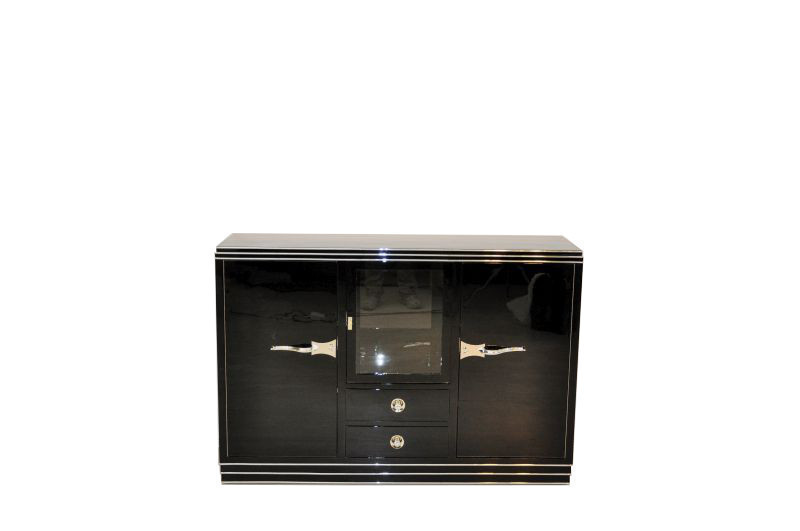 Straight Art Deco Showcase Sideboard With Curved Chrome Handles