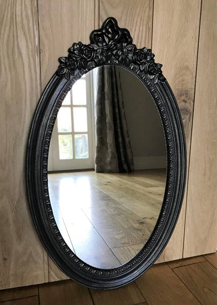 Black & Gold Painted Oval Ornate Mirror