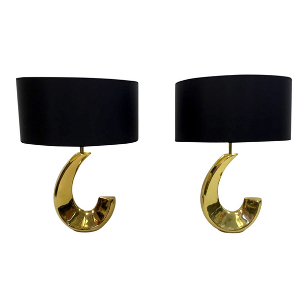 A Pair Of 1970s French Brass Lamps