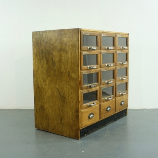 Vintage Oak Midcentury 15 Drawer Haberdashery Cabinet