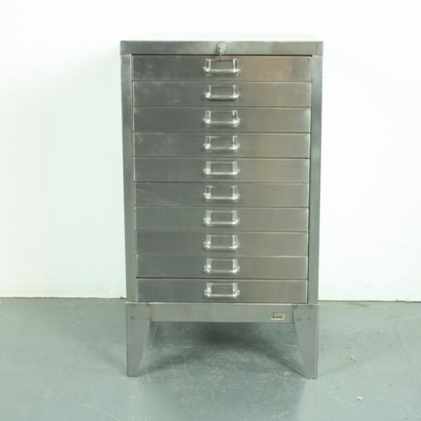 Vintage Midcentury Stripped Steel Stor Filing Drawers
