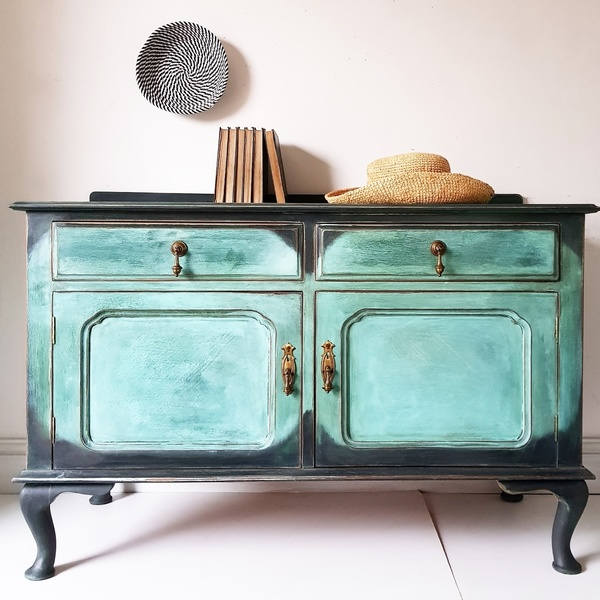 Vintage Annie Sloan Ikat Ombre Painted Sideboard