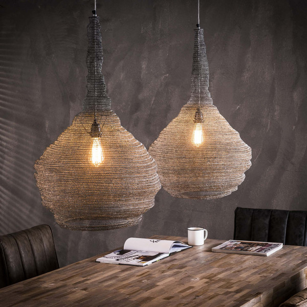 Pair Of Scandinavian Metal Mesh Funnel Pendant Lights.