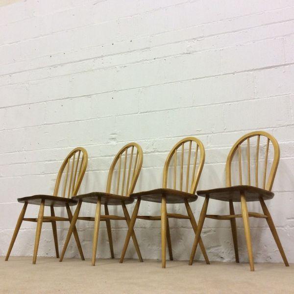 4 X Ercol Windsor Kitchen/Dinning Chairs Model No 400 Solid Wood Elm/Beech Hoop