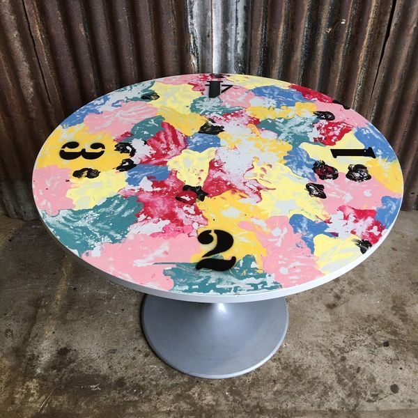 Funky Industrial Cafe Pub Kitchen Bistro Round Table Art Metal Base